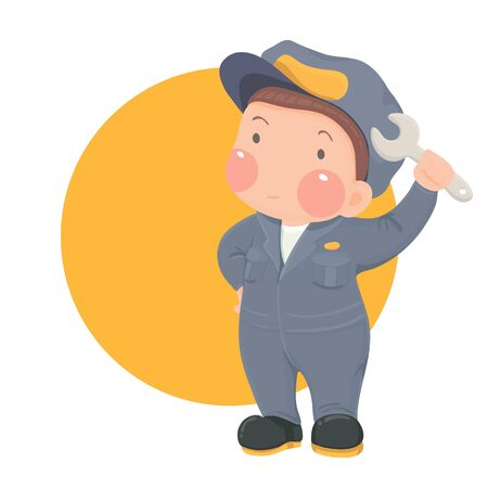 work wear: Vector Illustration of Service Mechanic Man with Wrench in Gray Work wear on Yellow Circle Background, Cartoon Character Illustration