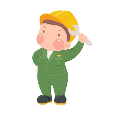 worker cartoon: Vector Illustration of Service Mechanic Worker in Green Work wear and Helmet holding Wrench Cartoon Character on White Background