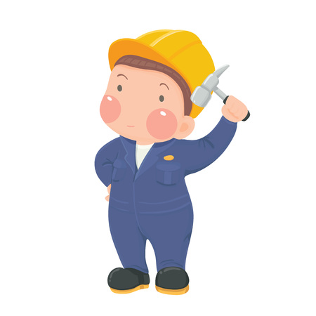 work wear: Vector Illustration of Service Mechanic Worker in Blue Work wear and Helmet holding Hammer Cartoon Character on White Background
