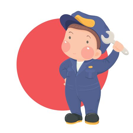work wear: Vector Illustration of Service Mechanic Man with Wrench in Blue Work Wear on Red Circle Background, Cartoon Character Illustration
