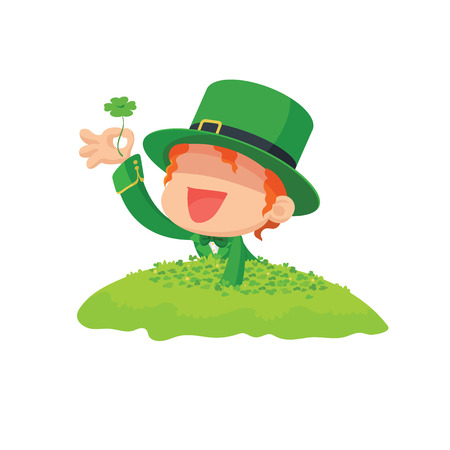leprechaun: Vector illustration of Lucky Leprechaun Found a Four-Leaf Clover in Clover Field for St. Patricks Day