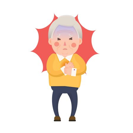 heart health: Vector Illustration of Old Man having Chest Pain, Heart Burn, Cartoon Character Isolated on White Background