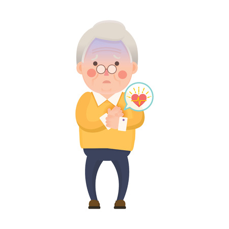 chest disease: Vector Illustration of Old Man having Heart Attack, Cartoon Character Stock Photo