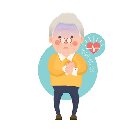 palpitation: Vector Illustration of Old Man having Heart Attack, Cartoon Character Stock Photo