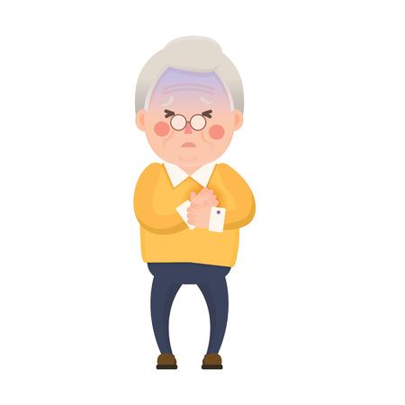 Vector Illustration of Old Man having Chest Pain, Heart Burn, Cartoon Character Isolated on White Background