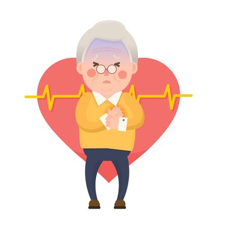 Vector Illustratie van de Oude Man met pijn op de borst, brandend maagzuur, Heart Attack stripfiguur