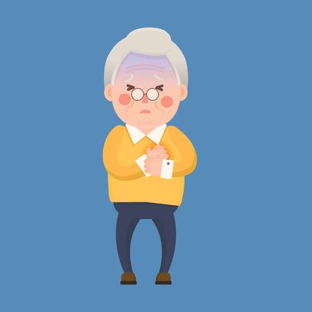 Vector Illustration of Old Man having Chest Pain, Heart Burn, Cartoon Character Stock Illustratie