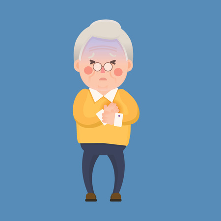 Vector Illustration of Old Man having Chest Pain, Heart Burn, Cartoon Character Illusztráció