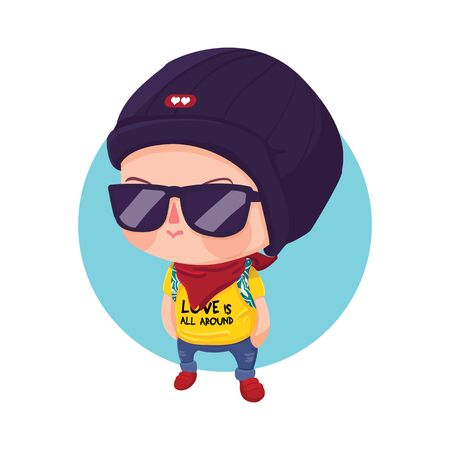 teen boy: Vector Illustration of A Young Hipster Boy Cartoon Character