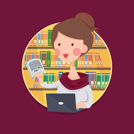 female student: Vector Illustration of a College Girl Student Studying in Library, Cartoon Character