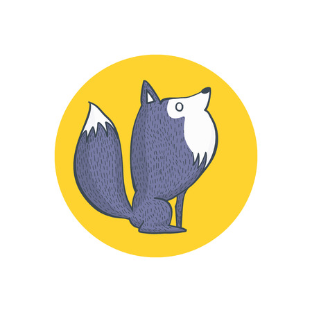 gray wolf: Illustration of Gray Wolf and Full Moon, Cartoon Character Hand Draw Illustration