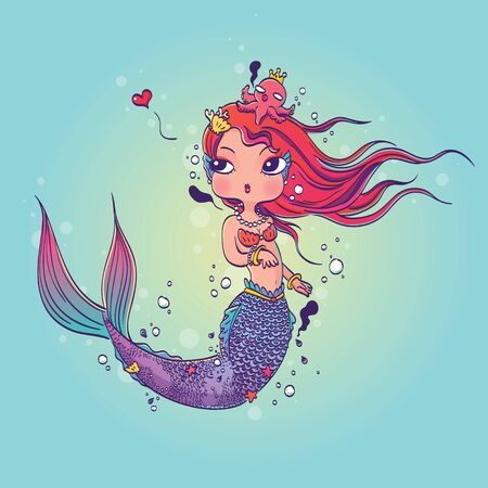 sea nymph: Illustration of a Lovely Mermaid Under the Sea Hand Drawn, Doodle Cartoon Character Illustration