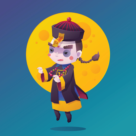 cute ghost: Illustration of Chinese Hopping Vampire Ghost for Halloween with Full Moon Background, Cute Character Illustration