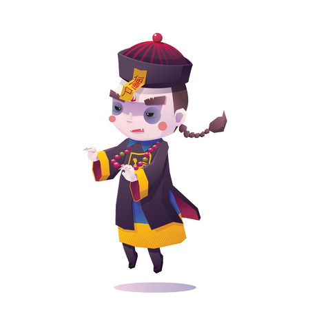 Illustration of Chinese Hopping Vampire Ghost for Halloween on White Background, Cute Character Vettoriali
