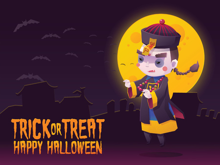 Illustration of Chinese Hopping Vampire Ghost for Halloween Trick or Treat Greeting Card