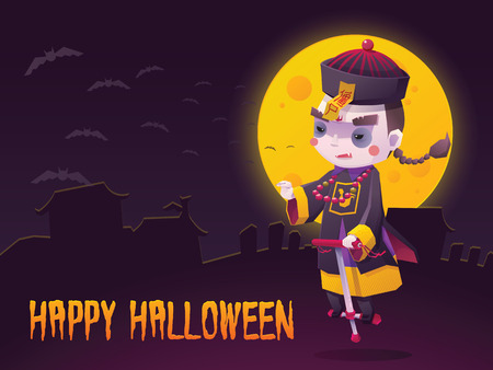 Illustration of Chinese Hopping Vampire Ghost with Jumping Stick for Halloween Trick or Treat Greeting Card