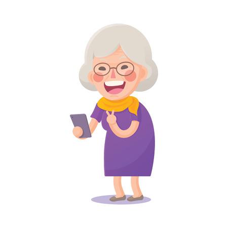 Illustration of Happy Grandma Selfie on Smart phone Isolated  on White Background Vettoriali