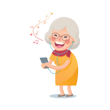 Illustration of Happy Grandma Listen the Music From Smart phone Isolated on White Background
