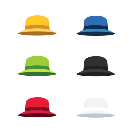 derby hats: Illustration of Six Colors Cloche Hat, Flat Style