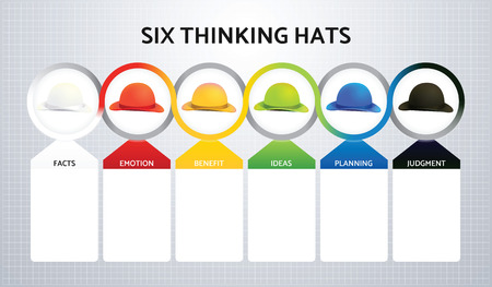 Illustration of Six Colors Hats, A Modern System of Thinking for Business 免版税图像 - 59714849