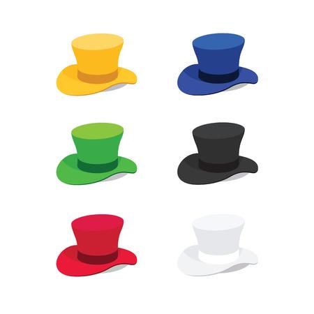 Ilustración de seis colores del sombrero de copa