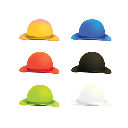 six objects: Illustration of Six Colors Bowler or Derby Hat