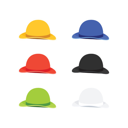 bowler hat: Vector Illustration of Six Colors Bowler or Derby Hat, Flat Style Illustration