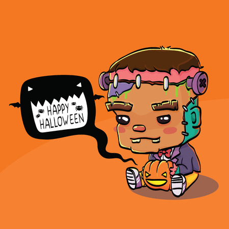 cartoon frankenstein: Vector Illustration of Cute Cartoon Character Frankenstein for Halloween Greeting Card
