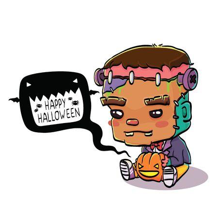 cartoon frankenstein: Vector Illustration of Cute Cartoon Character Frankenstein for Halloween, Isolated on White Background