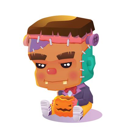 Vector Illustration of Cute Cartoon Character Lonely Frankenstein with Jack O Lantern