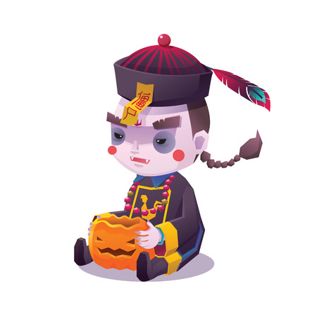 hopping: Vector Illustration of Jiangshi Chinese Hopping Vampire Ghost with Pumpkin for Halloween on White Background, Cute Character