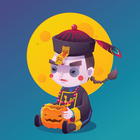 hopping: Vector Illustration of Jiangshi Chinese Hopping Vampire Ghost with Pumpkin for Halloween on Full Moon Background, Chinese Character on Yellow talisman mean Stiff Corpse, Cute  Cartoon Character Illustration
