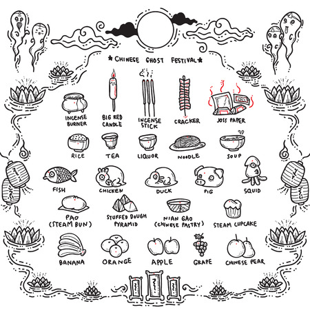 artifact: Vector Illustration of Chinese Ghost Festival Offerings.Traditional Opening of the Hell Gate Day to the spirits and is known as Hungry Ghost Festival.
