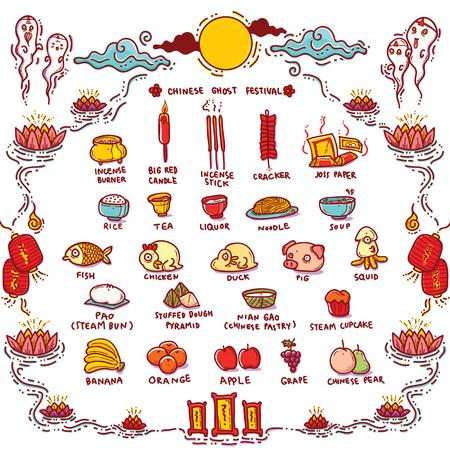 Ilustración del vector de la china de fantasmas Festival Offerings.Traditional Apertura del Día de la puerta del infierno a los espíritus y es conocido como Hungry Ghost Festival.