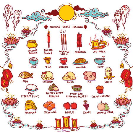stray: Vector Illustration of Chinese Ghost Festival Offerings.Traditional Opening of the Hell Gate Day to the spirits and is known as Hungry Ghost Festival.
