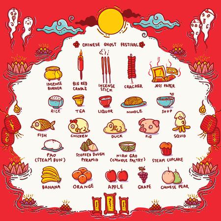 ベクトル図中国ゴースト祭 Offerings.Traditional のオープニングの霊を地獄の門の日の空腹の幽霊祭りとして知られています。  イラスト・ベクター素材