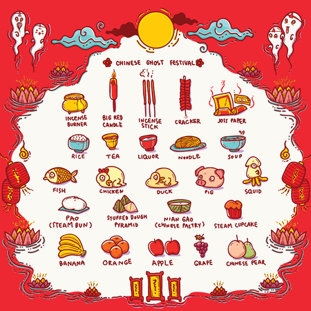 Vector Illustration of Chinese Ghost Festival Offerings.Traditional Opening of the Hell Gate Day to the spirits and is known as Hungry Ghost Festival.
