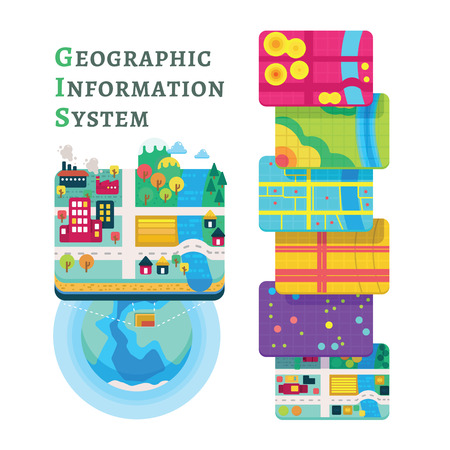 geographic: Vector Illustration of GIS Spatial Data Layers Concept for Info Graphic, Vertical Data Organization, Geographic Information System
