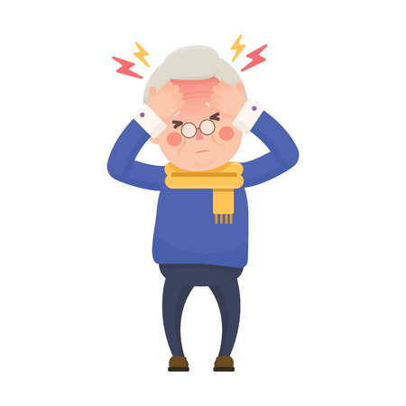 headache man: Vector Illustration of Sick Old Man Suffering from a Headache and High Temperature Holding Head in Hands. Cartoon Character. Illustration