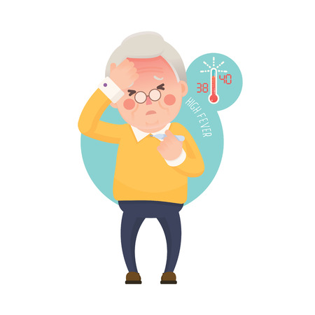 old people reading: Vector Illustration of Sick Old Man Suffering from a Fever and Checking His Temperature on a Thermometer while Clutching at His Forehead. Cartoon Character.