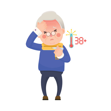 temp: Vector Illustration of Sick Old Man Suffering from a Fever and Checking His Temperature on a Thermometer while Clutching at His Forehead. Cartoon Character.