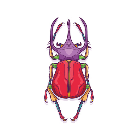 Vector Illustration of Colorful Big Horn Beetle Bug Insect Hand Drawn, Chalcosoma Atlas