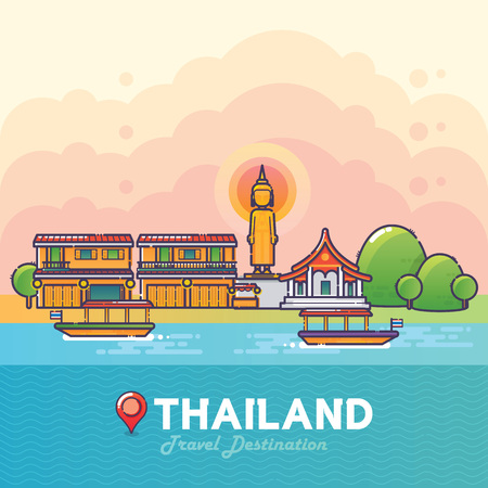 Vector Illustration of Thailand Travel Destination Colorful Detailed Skyline for Poster, Icon, Banner,Postcard. Trendy Linear Style Vettoriali