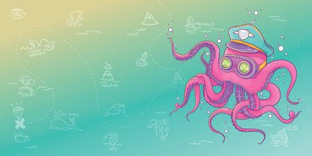 Vector Illustration of Octopus Wearing Captain Hat and Steampunk Goggles with Treasure Map Background, For Banner and Printing Ilustrace