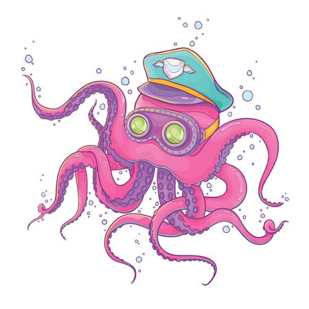 steampunk goggles: Vector Illustration of Pink Octopus Wearing Captain Hat and Steampunk Goggles