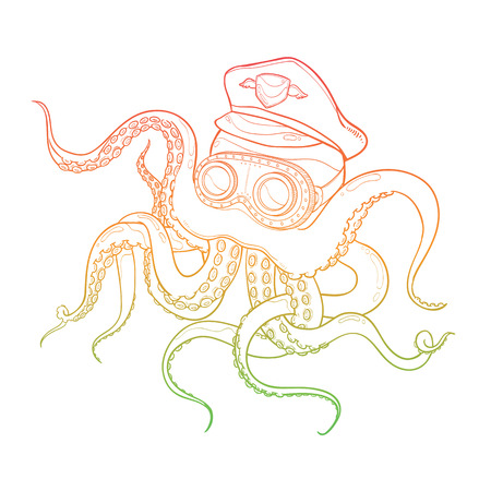 Vector Illustration of Outline Octopus Wearing Captain Hat and Steampunk Goggles On White Background