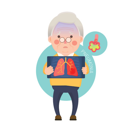 Vector Illustration of Old Man Holding X-ray Image Showing Lung Pneumonia Problem, Cartoon Character Illustration