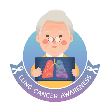 Vector Illustration of Old Man Holding X-ray Image Showing Lung Cancer Problem, White Awareness Ribbon, Cartoon Character Vettoriali