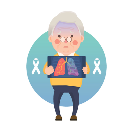 Vector Illustration of Old Man Holding X-ray Image Showing Lung Cancer Problem, White Awareness Ribbon, Cartoon Character Illustration