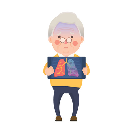 Vector Illustration of Old Man Holding X-ray Image Showing Lung Cancer Problem, Cartoon Character